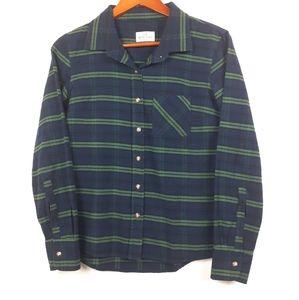 Marine Layer Plaid Flannel Button Down Shirt Sz XS